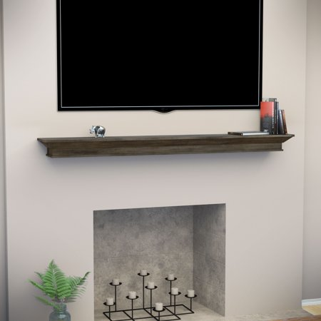 Adom Floating Mantel Wall Shelf, Traditional, Weathered Gray Oak