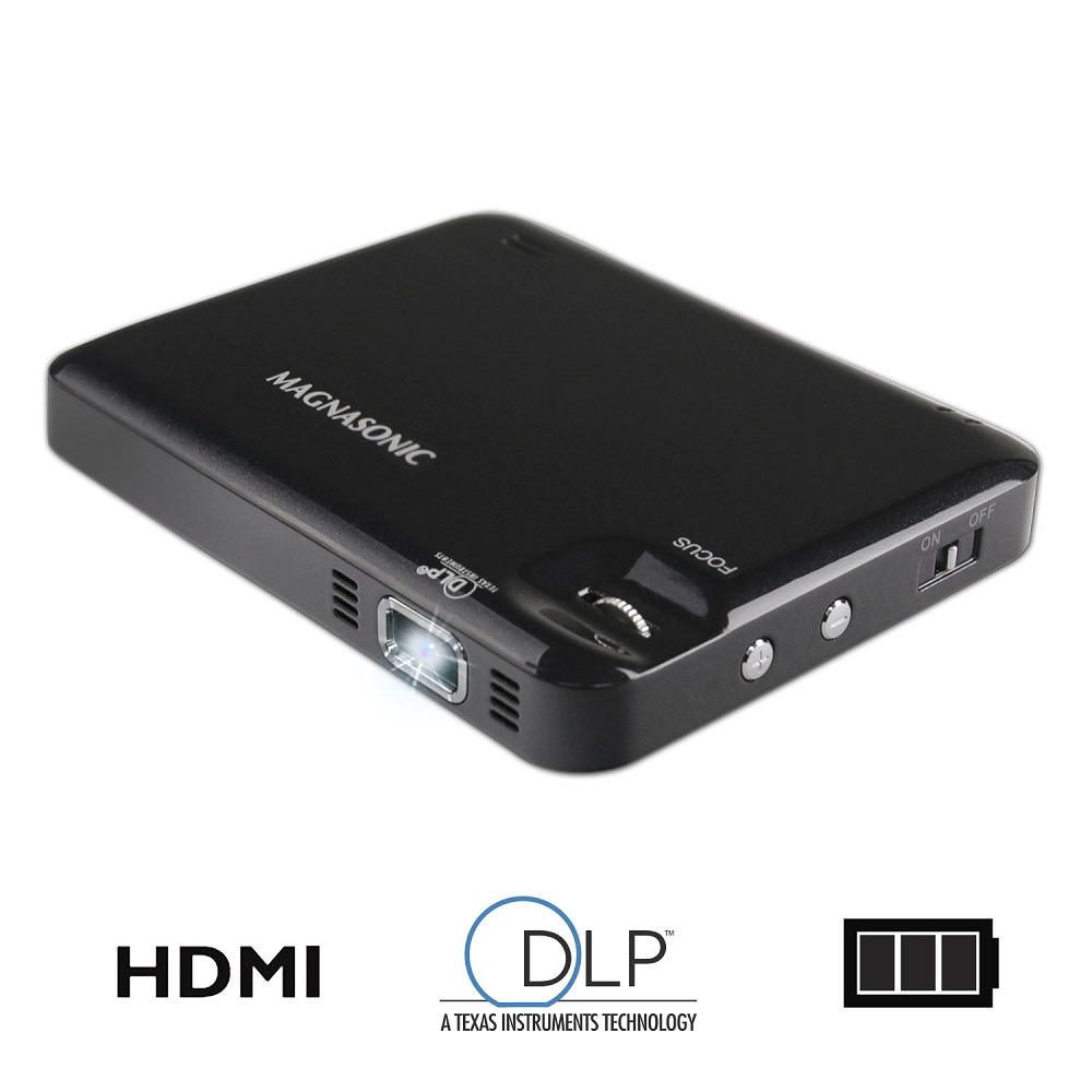 Magnasonic LED Pocket Pico Video Projector, HDMI, Rechargeable Battery, Built-in Speaker, DLP, 60  Hi-Resolution Display