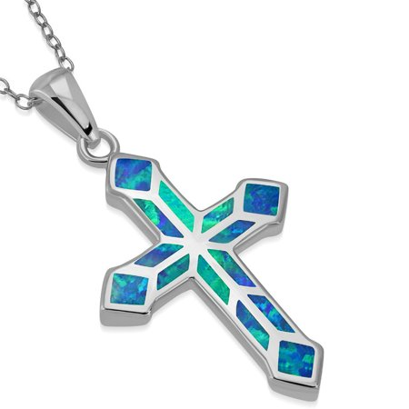 925 Sterling Silver Simulated Blue Opal Religious Cross Pendant Necklace, 18