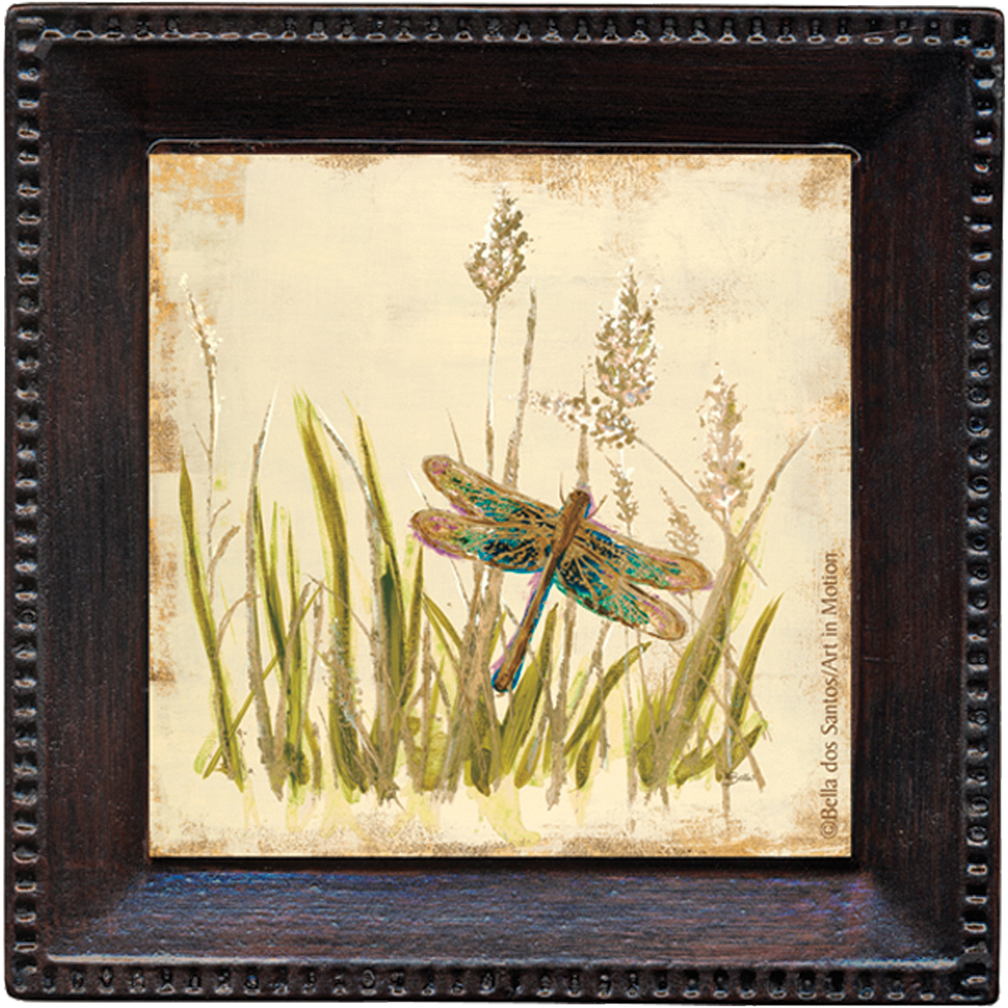 Thirstystone Ambiance Drink Coasters Set, Dragonfly Meadow, Bronze