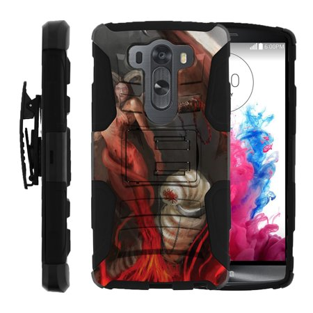 Witch Teeth (LG V10 and LG G4 PRO Miniturtle® Clip Armor Dual Layer Case Rugged Exterior with Built in Kickstand + Holster - Scary Horned)