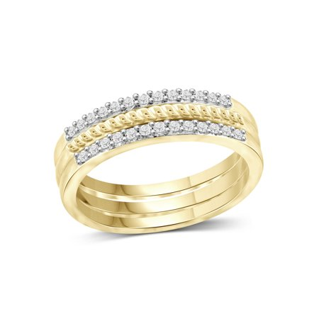 1/4 Carat T.W. White Diamond 14k Gold Over Silver Stackable Ring