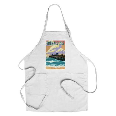 Emerald Isle, North Carolina - Fishing Pier - Lantern Press Poster (Cotton/Polyester Chef's - Fishing Apron