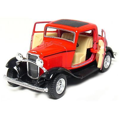 "New 5"" Kinsmart 1932 Ford 3-Window Coupe Diecast Model Toy Car 1:34 - Red"