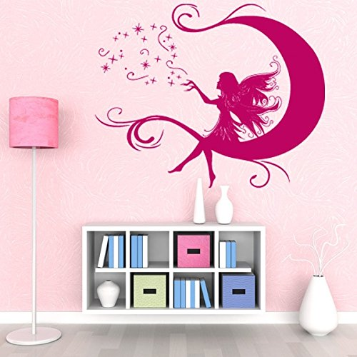 Moon Fairy Wall Decal - Wall Decal For Kids, Girls Room Sticker, Nursery Vinyl Wall Art, Kids Room Mural Decor - 2300 - 24in x 19in, White