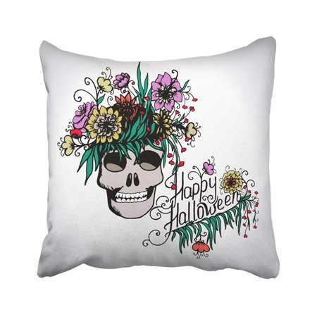 BPBOP Colorful Autumn Halloween With Skull In Flowers Bone Calligraphic Calligraphy Day Dead Pillowcase Cover 20x20 inch](Day Of The Dead Hair Flowers)