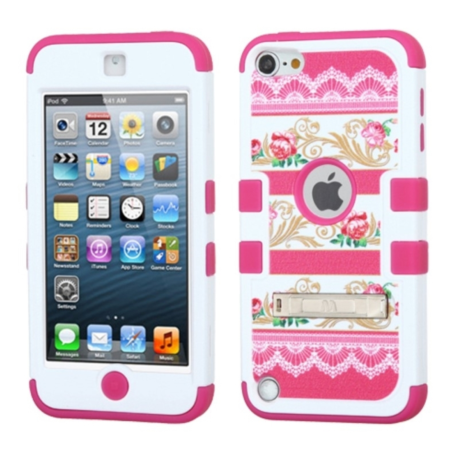 Insten FlowerBaroque art/Hot Pink TUFF Hybrid Soft Hard Case (with Stand) For APPLE iPod Touch 6 6th 5 5th Gen