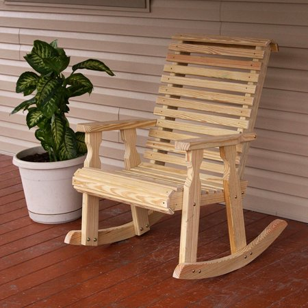 Heavy Duty Rocker Guards - Amish Heavy Duty 600 Lb Roll Back Pressure Treated Rocking Chair (Unfinished)