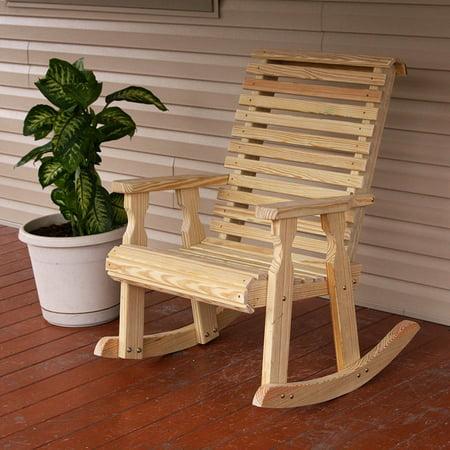 Amish Heavy Duty 600 Lb Roll Back Pressure Treated Rocking Chair
