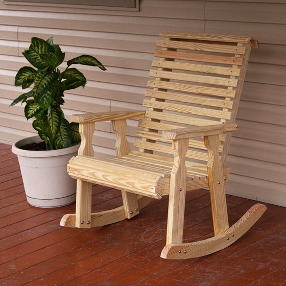 Amish Heavy Duty 600 Lb Roll Back Pressure Treated Rocking Chair  (Unfinished)