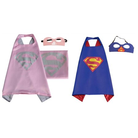 Superman & Supergirl Costumes - 2 Capes, 2 Masks with Gift Box by Superheroes