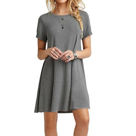 Summer Fashion Round Neck Basic Short Sleeve T-Shirt Dress Women Casual Loose A-line Ruffles Beach Dress - Casual Lavender Dress