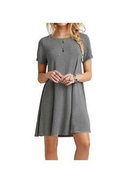 7641aeb2f8 Product Image Summer Fashion Round Neck Basic Short Sleeve T-Shirt Dress Women  Casual Loose A-