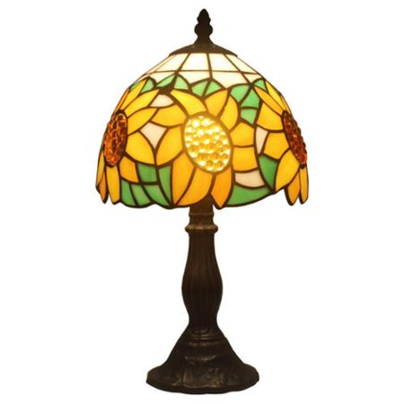 amora lighting tiffany style sunflower mini table lamp. Black Bedroom Furniture Sets. Home Design Ideas