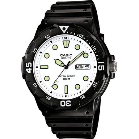 (Casio MRW200H-7E Men's Black Resin Strap 100M Sports Day Date White Dial Watch)