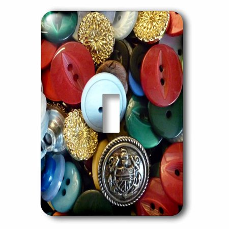 3dRose Image of Colorful Vintage Button Collection - Single Toggle Switch