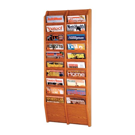 Offex  Cascade 20 Pocket Wall mount Magazine holder Rack Medium Oak OF-MR48-20MO