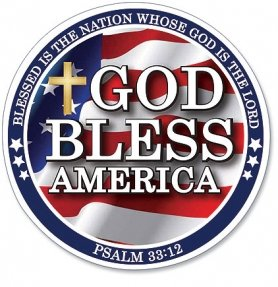 """God Bless America Psalm 33:12 Scripture """"Blessed is the Nation Whose God is the Lord"""" 6"""" Round Flexible Auto Car Magnet Decal Religious Gift"""