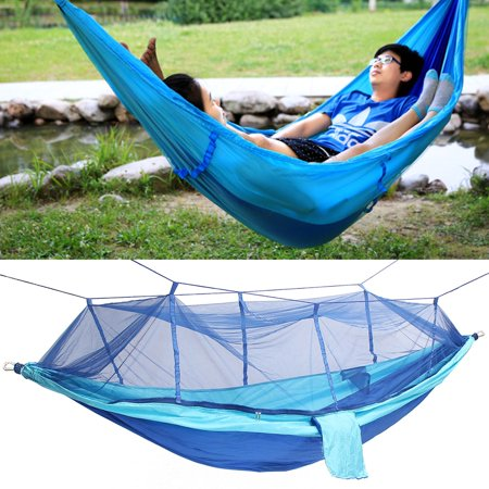 Double Hanging - portable double person travel camping hammock swing hanging bed w/ mosquito net