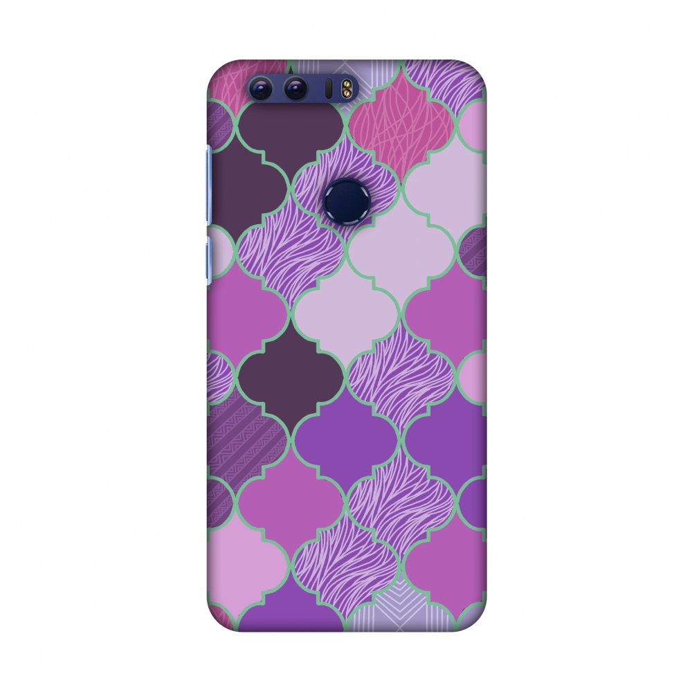 Huawei Honor 8 Case - Stained glass- Lavender, Hard Plastic Back Cover, Slim Profile Cute Printed Designer Snap on Case with Screen Cleaning Kit