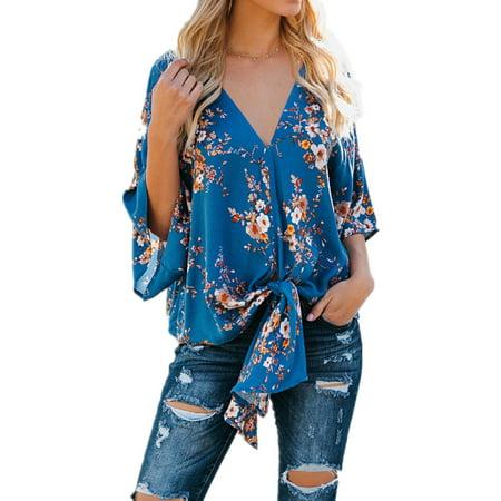 Spring Autumn Women Print Blouse Long Sleeve Loose Tops Tee