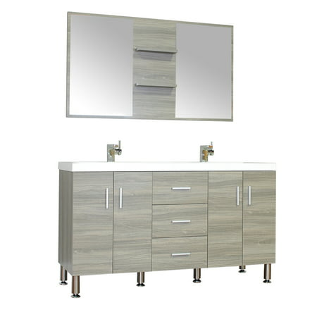 . Ripley 56  Double Modern Bathroom Vanity Wavy Sink Set in Gray with Mirror