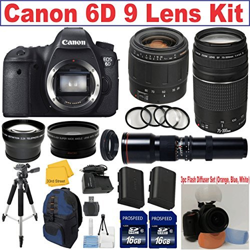 Canon EOS Rebel 6D Digital SLR Camera Body + Tamron 28-80mm Lens + Canon 75-300mm III Zoom Lens + 500mm Nature Photograp