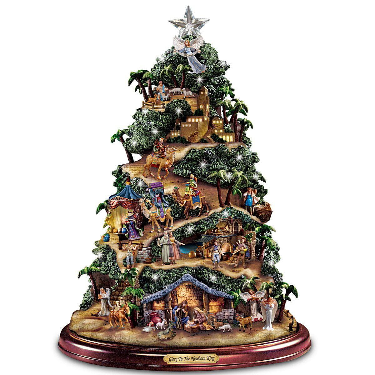Kinkade christmas ornaments - Thomas Kinkade Illuminated Nativity Tabletop Tree Glory To The Newborn King By Hawthorne Village Walmart Com