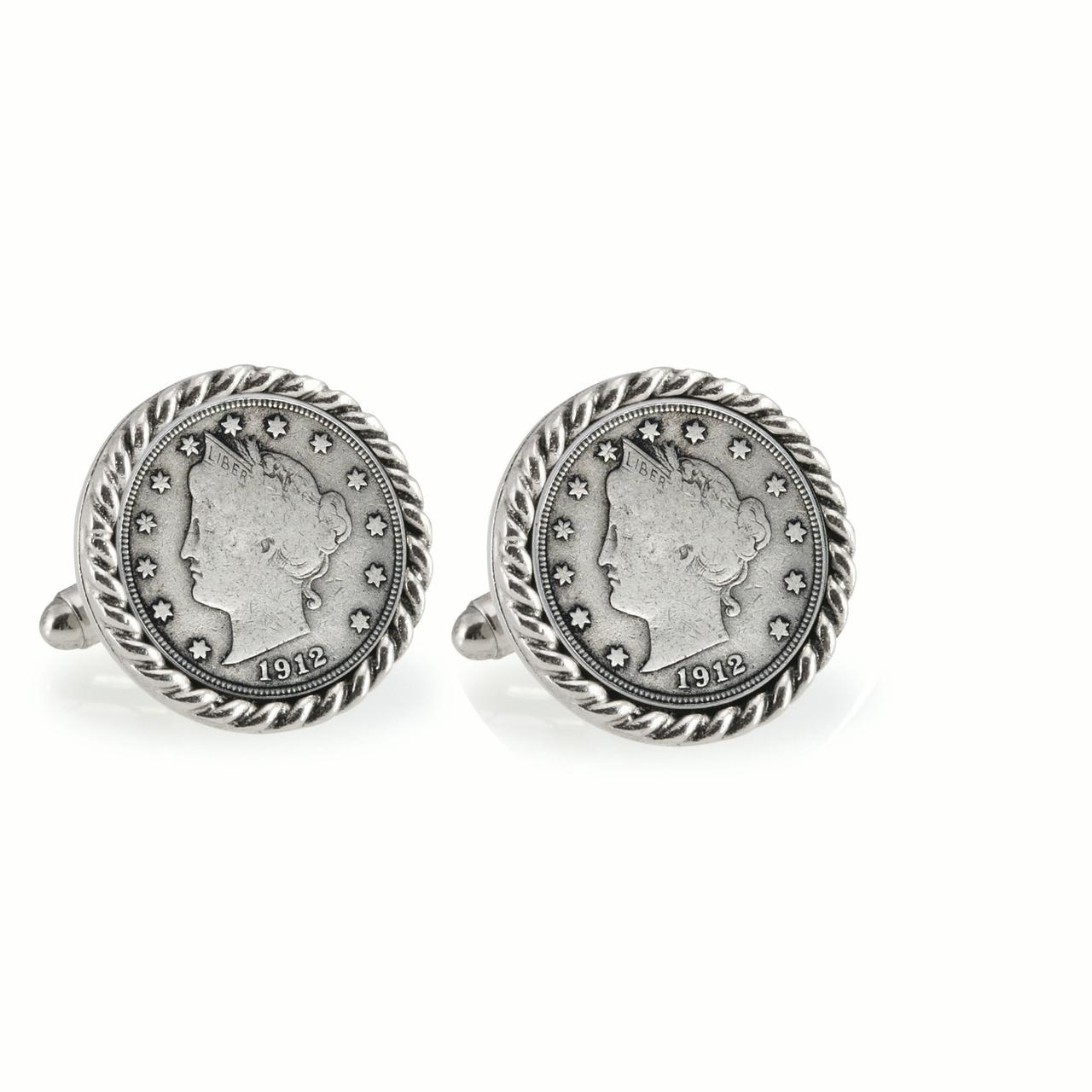 American Coin Treasures  Liberty Nickel Silvertone Rope Bezel Cuff Links