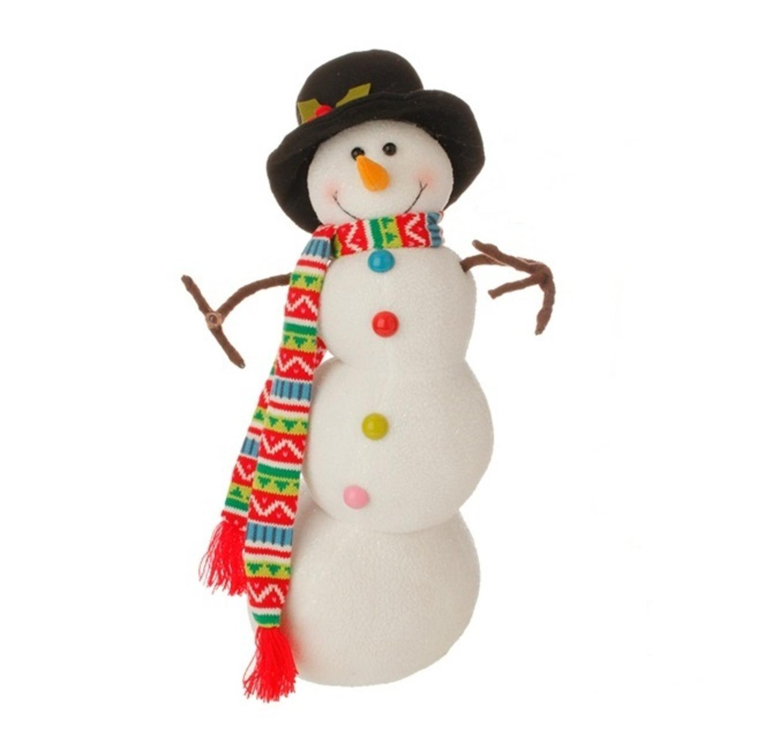 "21"" Merry & Bright Posable Snowman Christmas Decoration"