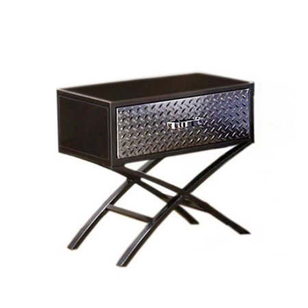 Furniture of America Nervus Nightstand with Metallic Face Drawer, Gun Metal Finish