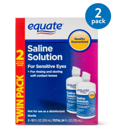 (2 Pack) Equate Saline Solution For Sensitive Eyes, 12 Oz, 2 (Best Contact Lenses For Dry Eyes 2019)