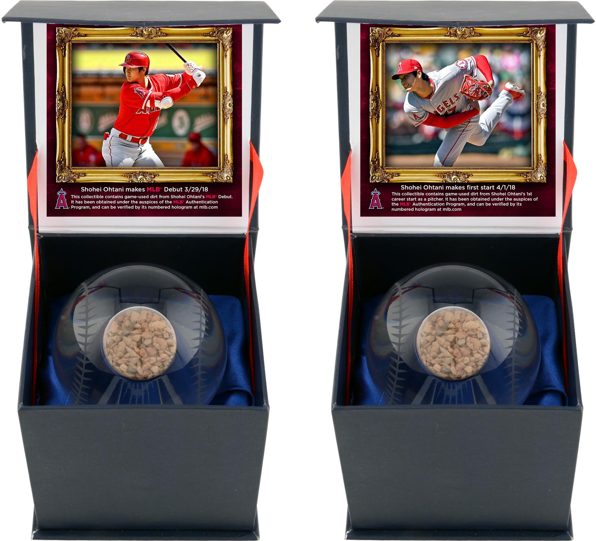 Shohei Ohtani Los Angeles Angels Two Crystal Baseball Bundle with Game-Used Dirt from MLB Debut and 1st Career Pitching Start - Fanatics Authentic Certified