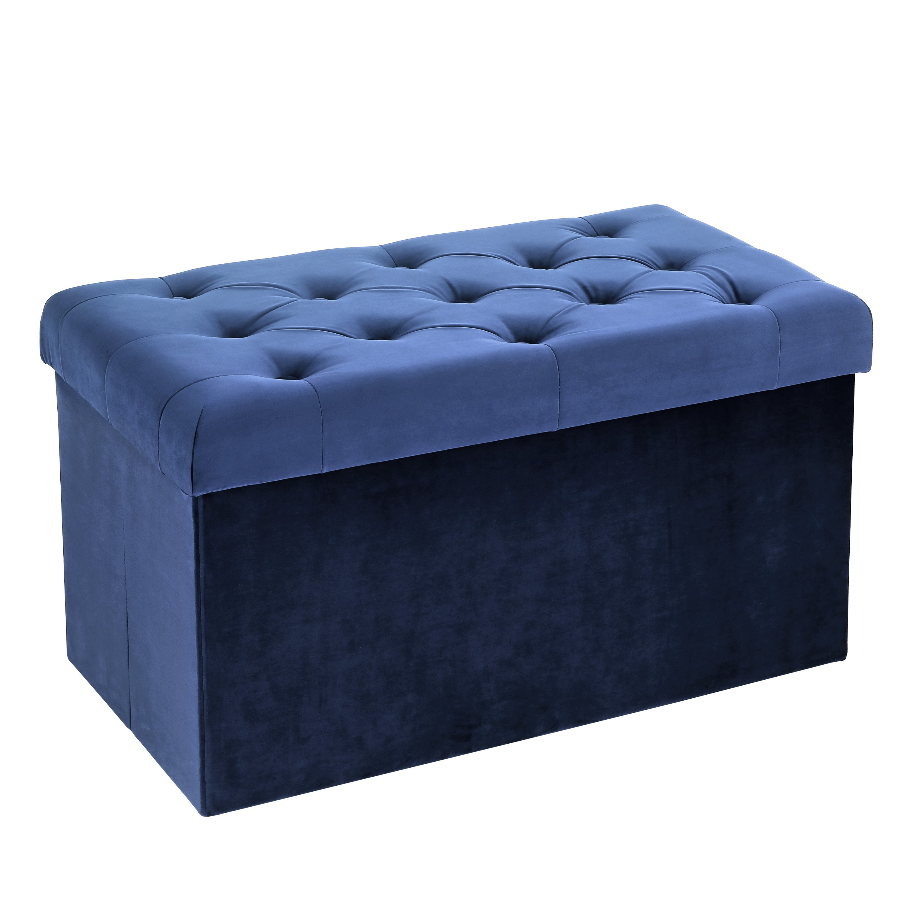 Poly and Bark Lauren Velvet Rectangular Storage Ottoman in Blue