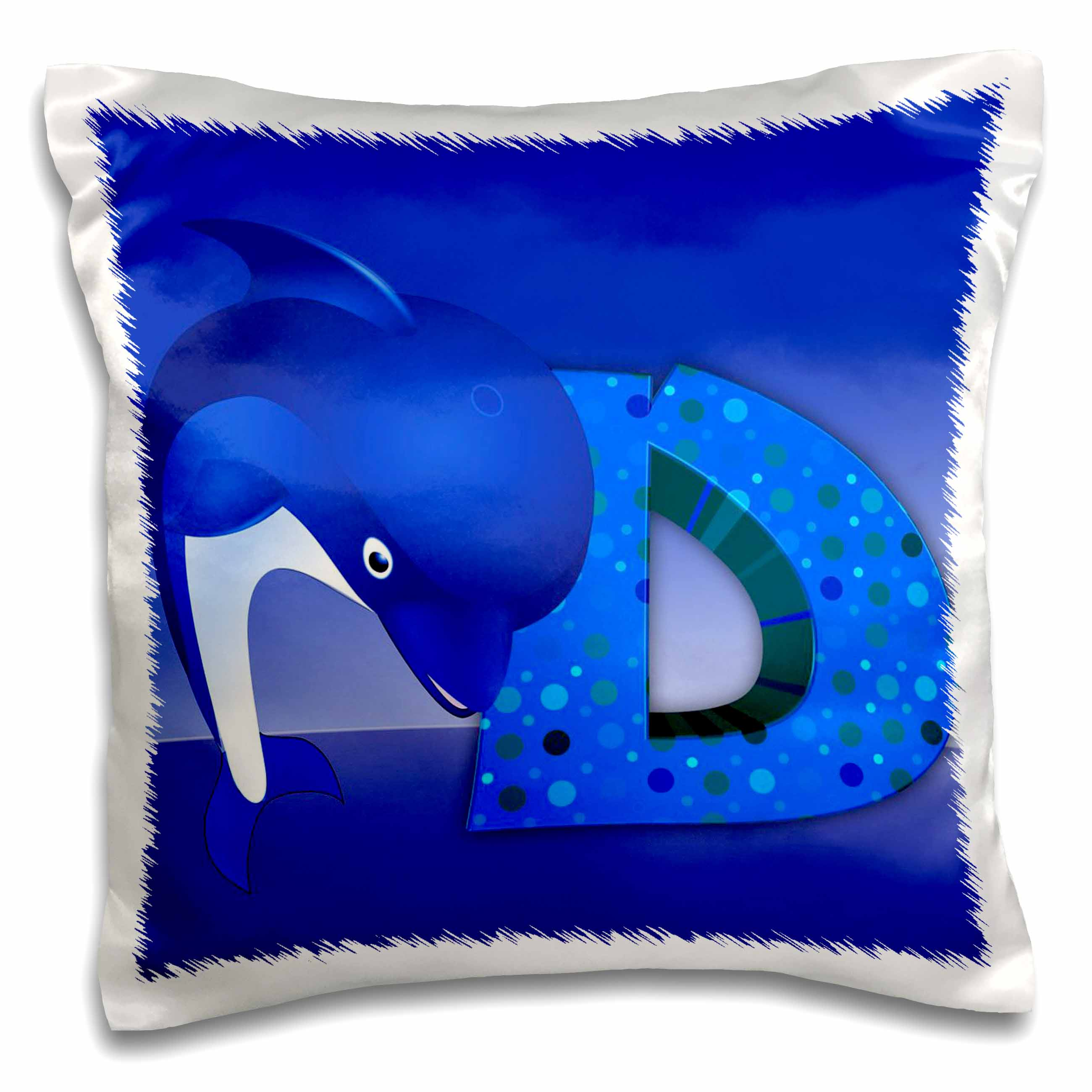 3dRose D for Dolphin Alphabet, Pillow Case, 16 by 16-inch