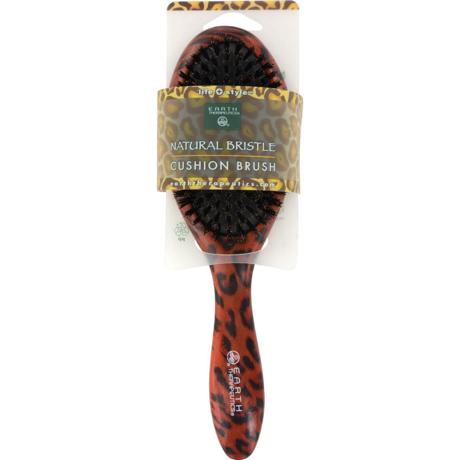 Earth Therapeutics Regular Natural Bristle Cushion Brush With Leopard Design - 1 Brush