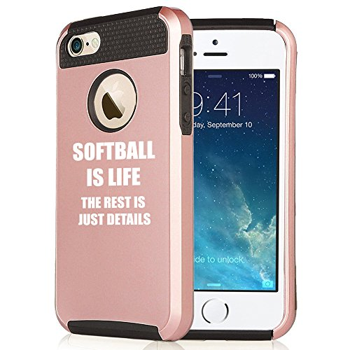 For Apple iPhone SE Rose Gold Shockproof Impact Hard Soft Case Cover Softball Is Life (Rose Gold-Black)