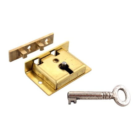 Brass Half Mortise Chest Lock with Skeleton Key - Small - S-8