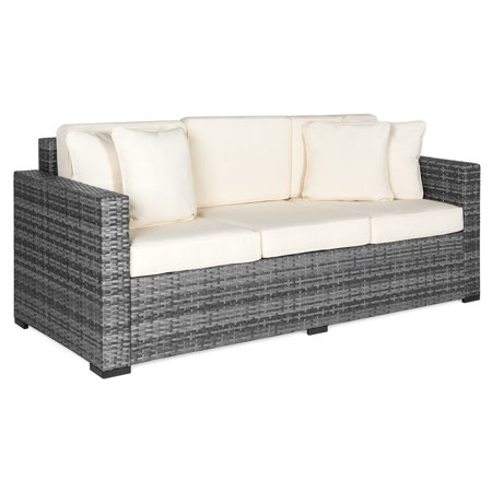 Best Choice Products 3-Seat Outdoor Wicker Patio Sofa with Removable Cushions, Gray ()