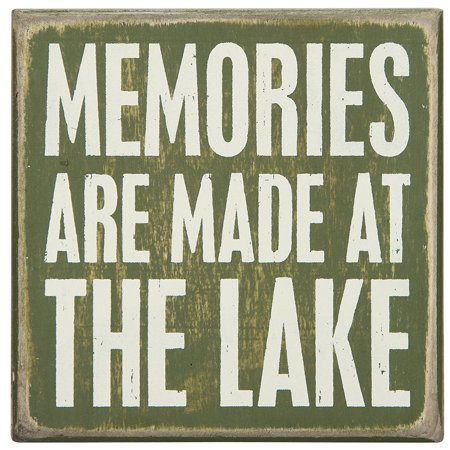 Primitives Kathy Wood Box Sign, 4-Inch 4-Inch, At The Lake, Box sign measures 4 square By Primitives By Kathy 4' Square Dark Wood