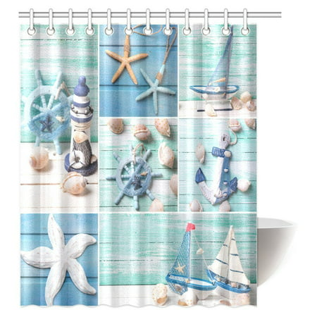 Marina Satin Shower Curtain - MYPOP Seashells on Wooden Planks Decorations Shower Curtain, Decorative Lighthouse, Sailing Boats and Marine Items on Wooden Background Fabric Bathroom Decor Set with Hooks, 60 X 72 Inches