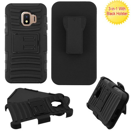 Samsung Galaxy J2 Core (J260) Phone Case TUFF Hybrid Impact Armor Rugged Rubber Silicone TPU Hard Protective Cover Belt Clip Swivel Holster BLACK Phone Case for Samsung Galaxy J2 Core / J260