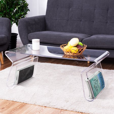 Costway 38'' Clear Acrylic Coffee Table Cocktail Table with Integrated Magazine Rack for $<!---->