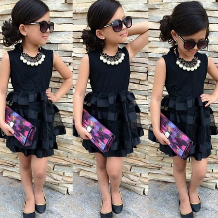 Children Baby Girls Pageant Princess Black Stripe Solid Tulle Party Dress