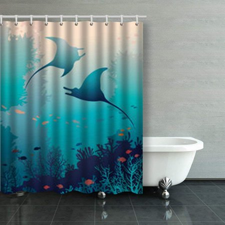 BSDHOME Silhouette Two Mantas Coral Reef Fish Shower Curtains Bathroom Curtain 60x72 Inch - image 1 of 1