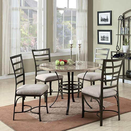 ACME Furniture Daisy 5 Piece Round Faux Marble Dining Tab...