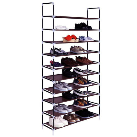 """10 Tier Shoe Organizer for Closets, Shoe Storage, Non-woven Fabric Shoe Shelf, Heavy Duty Boot Rack with Metal Tubes, Rustproof Shoe Stand for Entryway Foyer, 39"""" x 11"""" x 71"""", Brown, Q4209 thumbnail"""