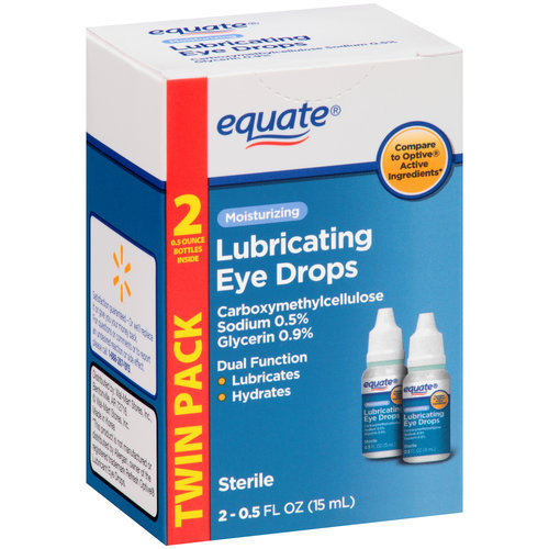 Equate Moisturizing Lubricating Eye Drops, 0.5 Oz, 2 Pk