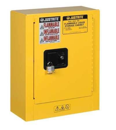 Justrite Flammable Liquid Safety Cabinet, Galvanized Steel, Yellow, 890200