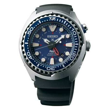SUN065 Men's Prospex PADI Blue Dial Black Silicone Strap Kinetic GMT Dive Watch (Seiko Sportura Kinetic Gmt)